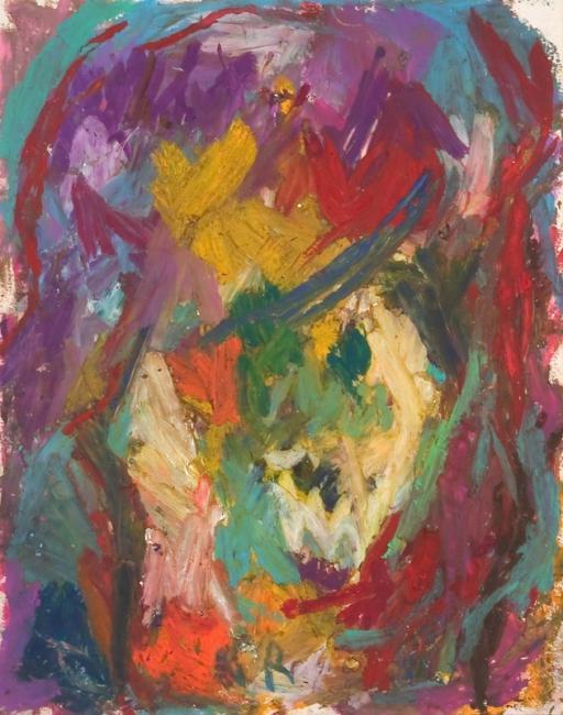 Tête, pastel à l'huile sur papier, 27 x 21 cm, 2005