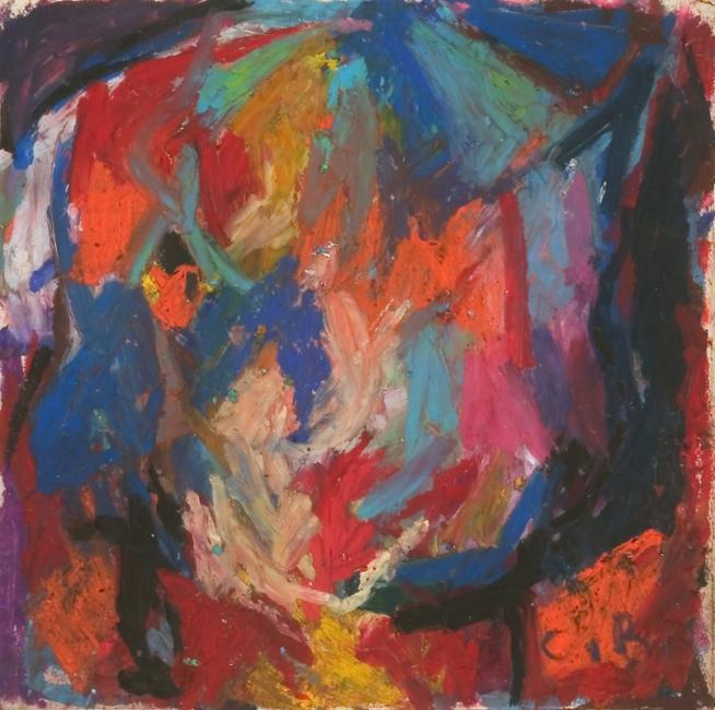 Tête, pastel à l'huile sur papier, 26 x 26 cm 2005
