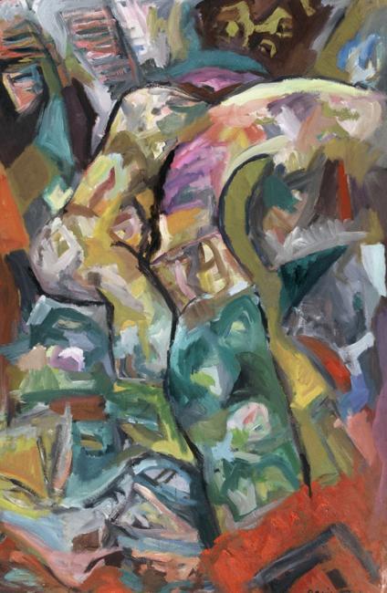 Interprétation n°2, huile sur carton 120 x 80 cm 1996