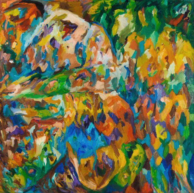 Intérieur, huile sur toile 150 x 150 cm 1996
