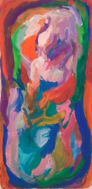 """Le """"B"""" du mot oubli, gouache sur papier, 53 x 26 cm 2006"""