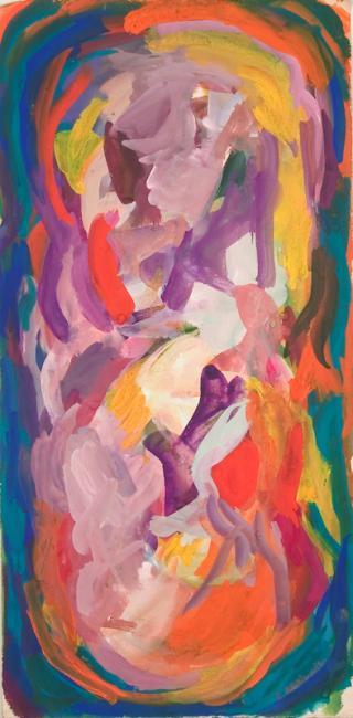 """Le """"O"""" du mot oubli, gouache sur papier, 53 x 26 cm 2006"""