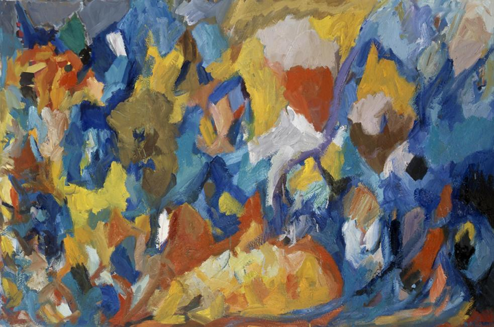 Montagne de données, pastel à l'huile sur carton, 80 x 120 cm 1998