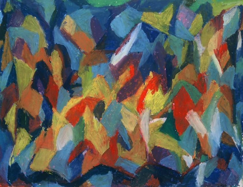 Montagne de données, pastel à l'huile sur papier, 50 x 65 cm 1997