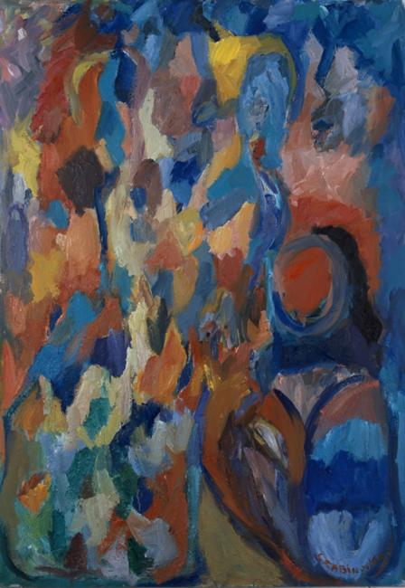 Motif, huile sur carton, 120 x 80 cm 2002