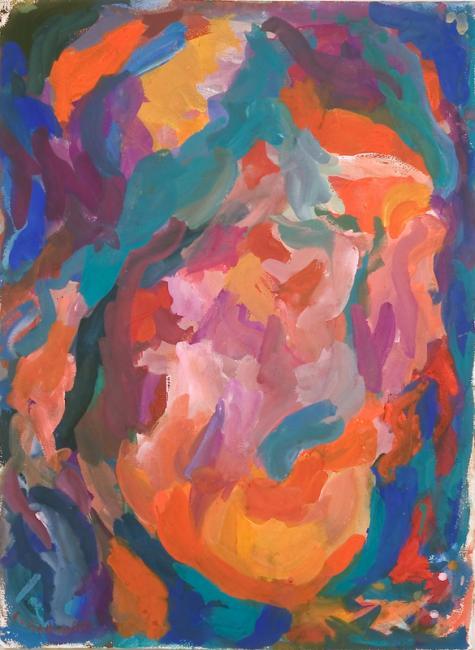 Tête, gouache sur papier, 75 x 56 cm, 2005