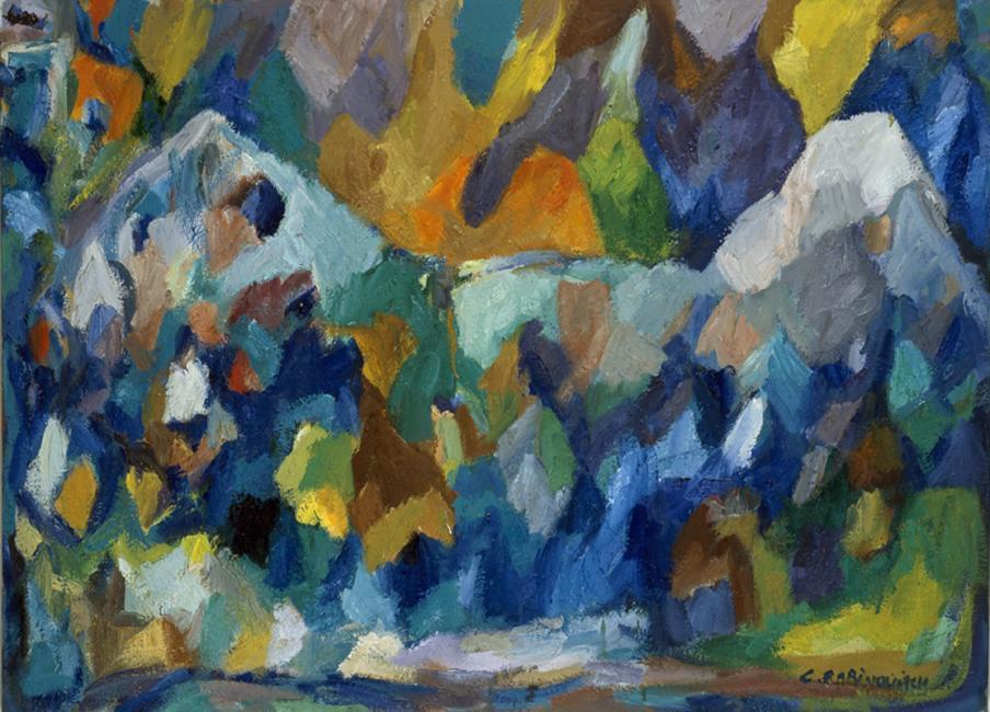 Montagne de données, pastel à l'huile sur toile, 73 x 92 cm 2000- 2002