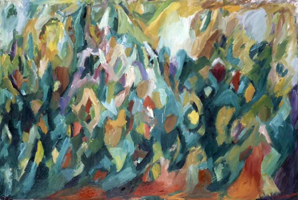 Montagne de données, pastel à l'huile sur carton, 80 x 120 cm 2000