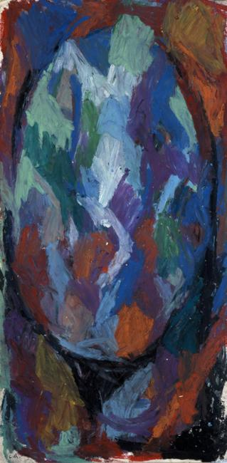 """Le """"O"""" du mot oubli, pastel à l'huile sur papier, 55 x 25 cm 2004"""
