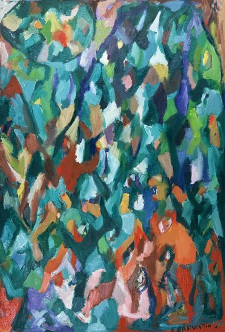 Montagne de données, pastel à l'huile sur carton, 120 x 80 cm 1997 - 1998