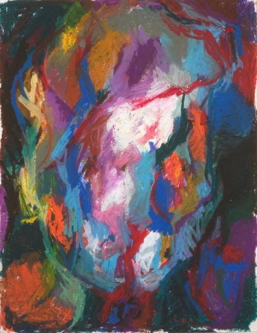 Tête, pastel à l'huile sur papier, 65 x 55 cm 2005