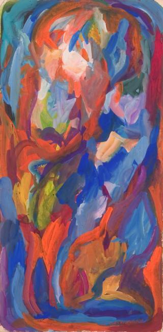 """Le """"L"""" du mot oubli, gouache sur papier, 53 x 26 cm 2006"""